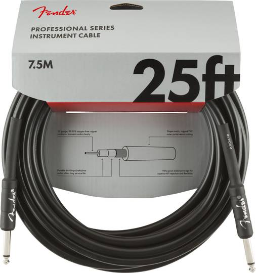 Professional Series Instrument Cable, Straight/Straight, 25', Black