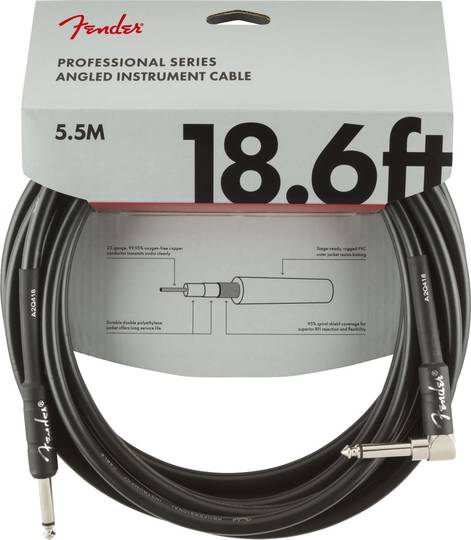 Professional Series Instrument Cable, Straight/Angle, 18.6', Black