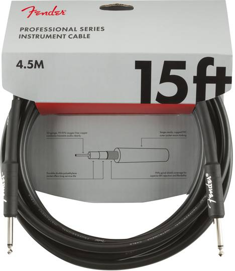 Professional Series Instrument Cable, Straight/Straight, 15', Black