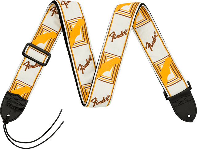 "【ネコポス発送】Fender® 2"" Monogrammed Strap White/Brown/Yellow"