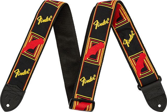 "【ネコポス発送】Fender® 2"" Monogrammed Strap Black/Yellow/Red"