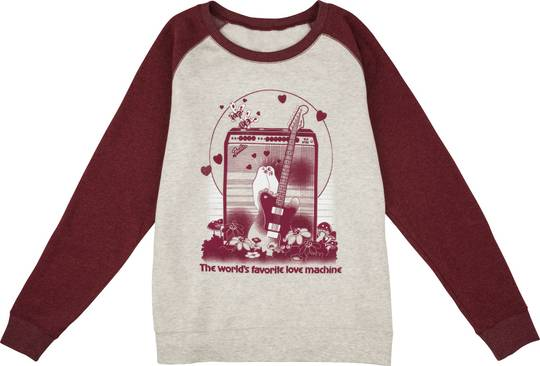 Fender Women's Love Sweatshirt, Oatmeal and Maroon, M