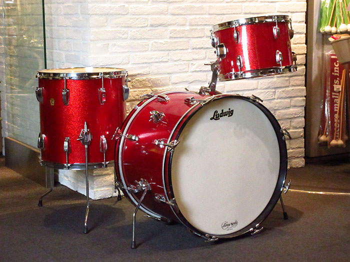 "【VINTAGE】1966' DownBeat Sparkling Red Pearl 20"" 12"" 14"""
